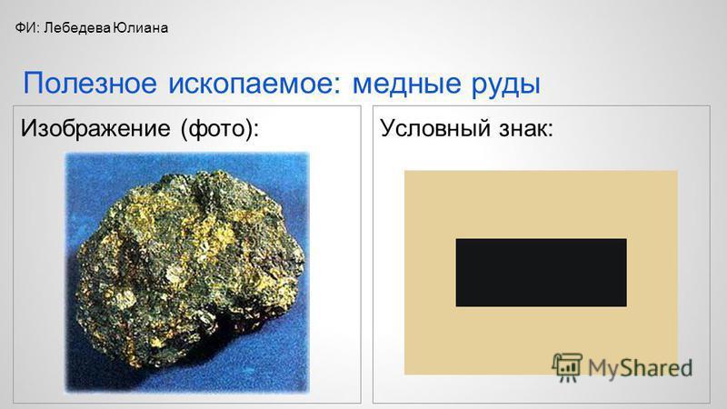 Изображение (фото): Условный знак: Полезное ископаемое: медные руды ФИ: Лебедева Юлиана