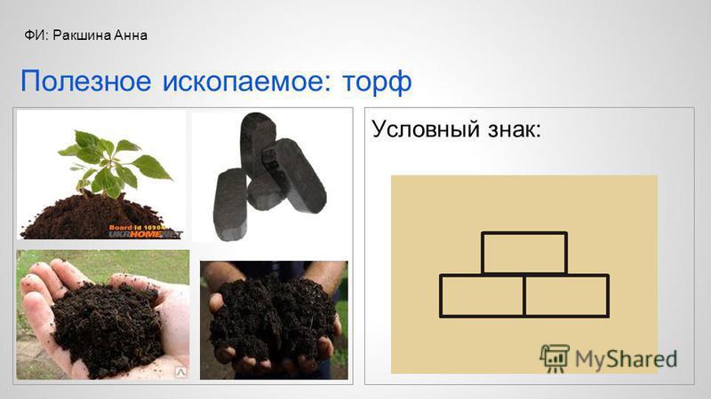 Условный знак: Полезное ископаемое: торф ФИ: Ракшина Анна