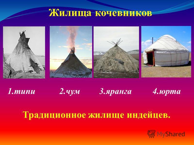 1. типи 2. чум 3. яранга 4. юрта Жилища кочевников Традиционное жилище индейцев.