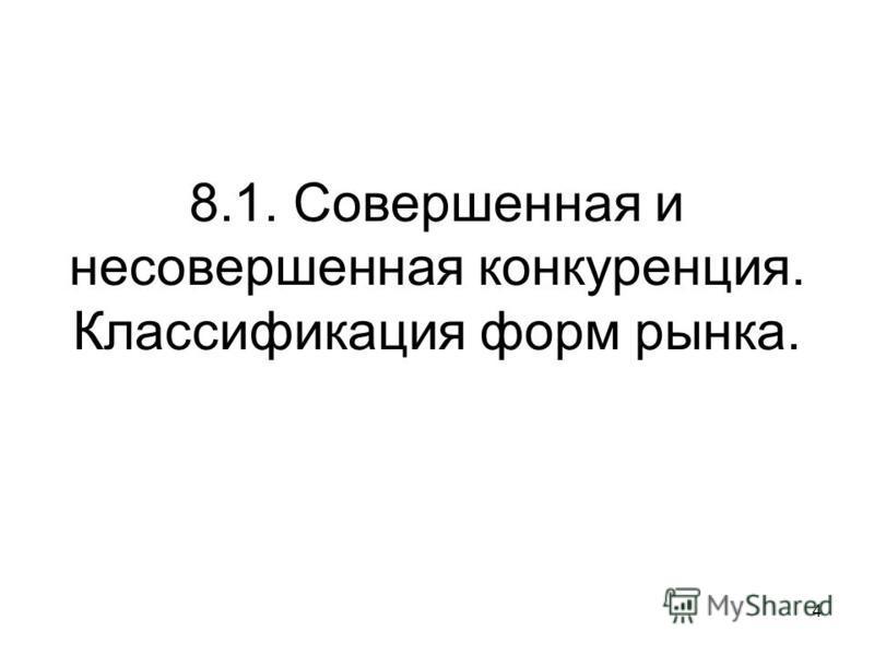 8.1. Совершенная и несовершенная конкуренция. Классификация форм рынка. 4