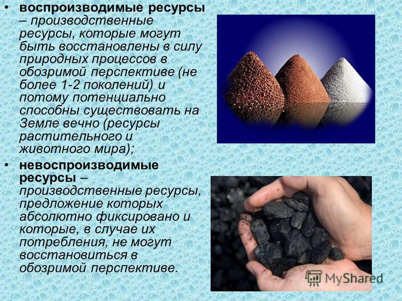 воспроизводимые ресурсы – производственные ресурсы, которые могут быть восстановлены в силу природных процессов в обозримой перспективе (не более 1-2 поколений) и потому потенциально способны существовать на Земле вечно (ресурсы растительного и живот