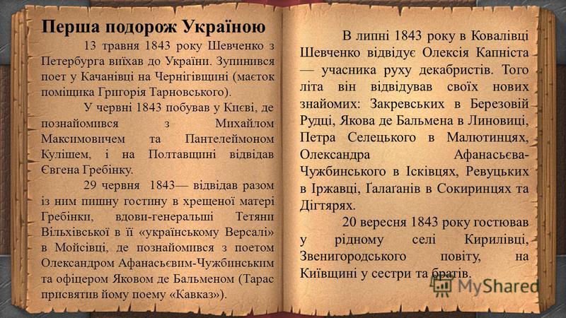 Вірші Шевченка справили на українське суспільство велике враження, проте російська богема загалом негативно поставилася до молодого поета, звинувативши його головним чином у тому, що він пише «мужицькою мовою». Улітку 1842, використа- вши сюжет поеми