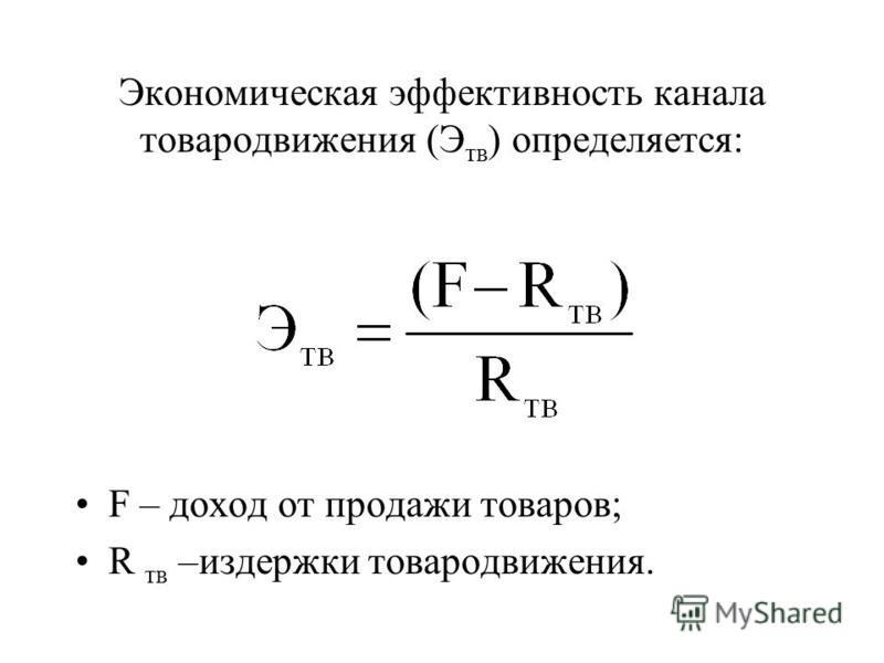 Экономическая эффективность канала товародвижения (Э тв ) определяется: F – доход от продажи товаров; R тв –издержки товародвижения.