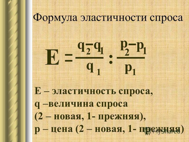 Формула эластичности спроса Е q q q p p p Е – эластичность спроса, q –величина спроса (2 – новая, 1- прежняя), p – цена (2 – новая, 1- прежняя) 2 11 11 2