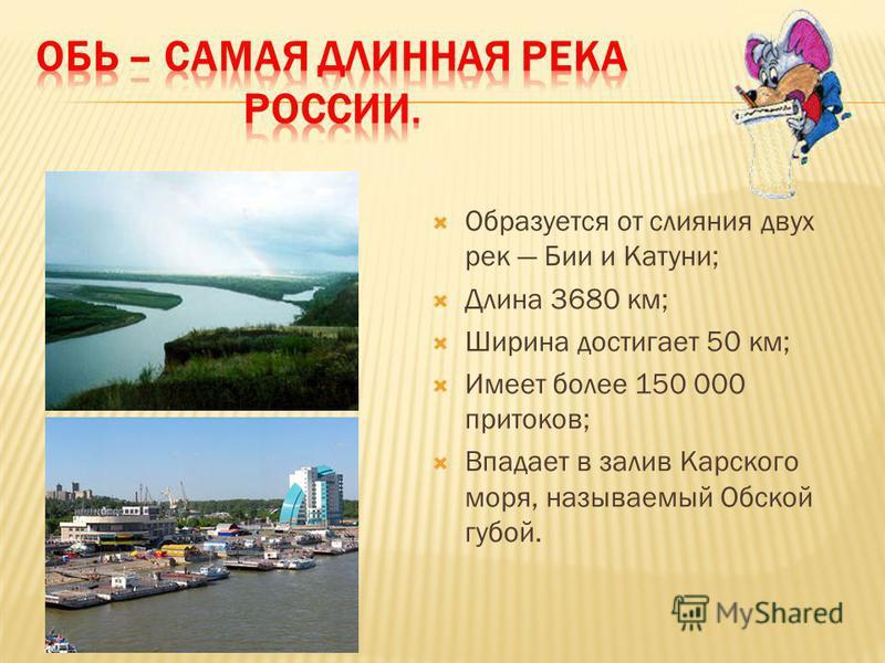 Образуется от слияния двух рек Бии и Катуни; Длина 3680 км; Ширина достигает 50 км; Имеет более 150 000 притоков; Впадает в залив Карского моря, называемый Обской губой.
