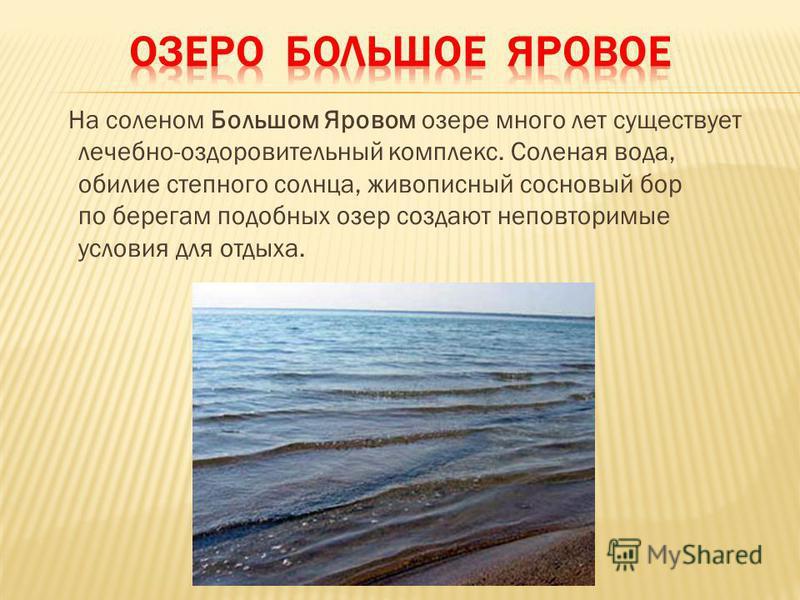 На соленом Большом Яровом озере много лет существует лечебно-оздоровительный комплекс. Соленая вода, обилие степного солнца, живописный сосновый бор по берегам подобных озер создают неповторимые условия для отдыха.