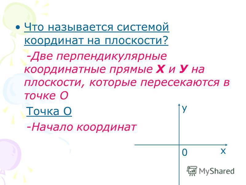 Что называется системой координат на плоскости? -Две перпендикулярные координатные прямые Х и У на плоскости, которые пересекаются в точке О Точка О -Начало координат х у 0