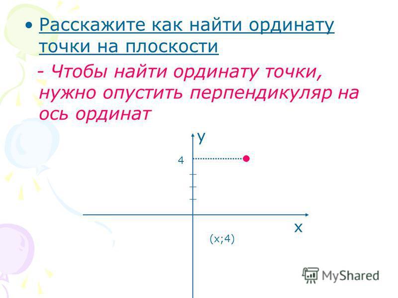 Расскажите как найти ординату точки на плоскости - Чтобы найти ординату точки, нужно опустить перпендикуляр на ось ординат х у 4 (х;4)