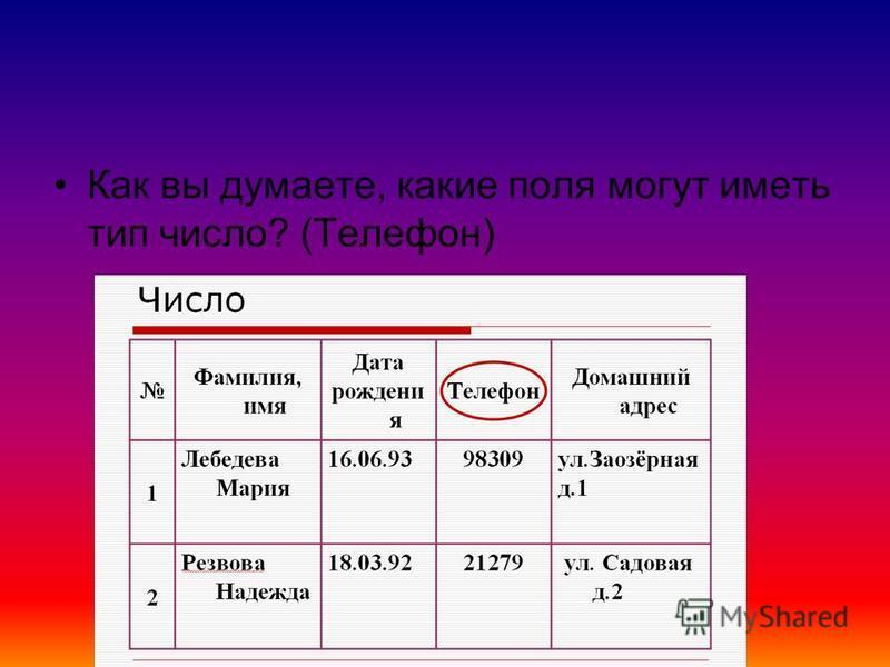 Как вы думаете, какие поля могут иметь тип число? (Телефон)