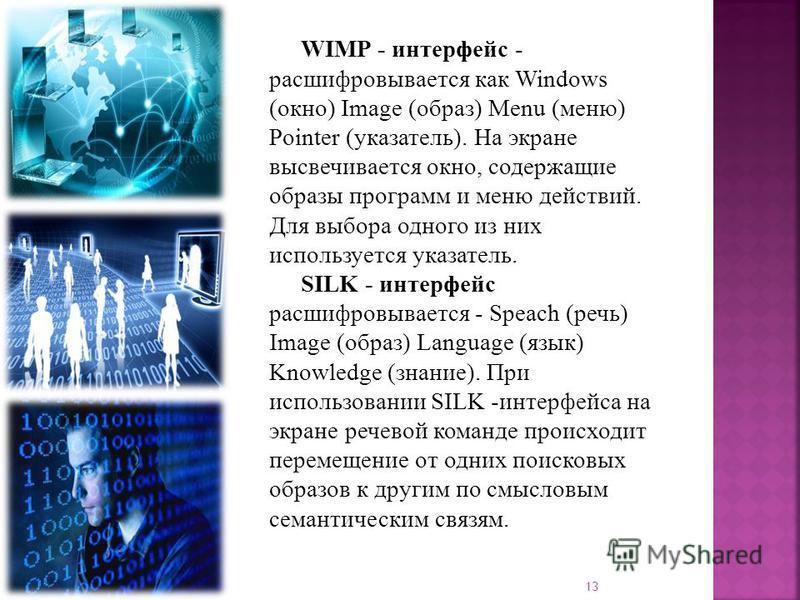 WIMP - интерфейс - расшифровывается как Windows (окно) Image (образ) Menu (меню) Pointer (указатель). На экране высвечивается окно, содержащие образы программ и меню действий. Для выбора одного из них используется указатель. SILK - интерфейс расшифро