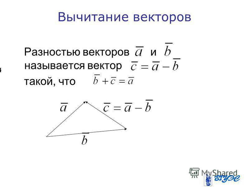 Вычитание векторов Разностью векторов и называется вектор такой, что