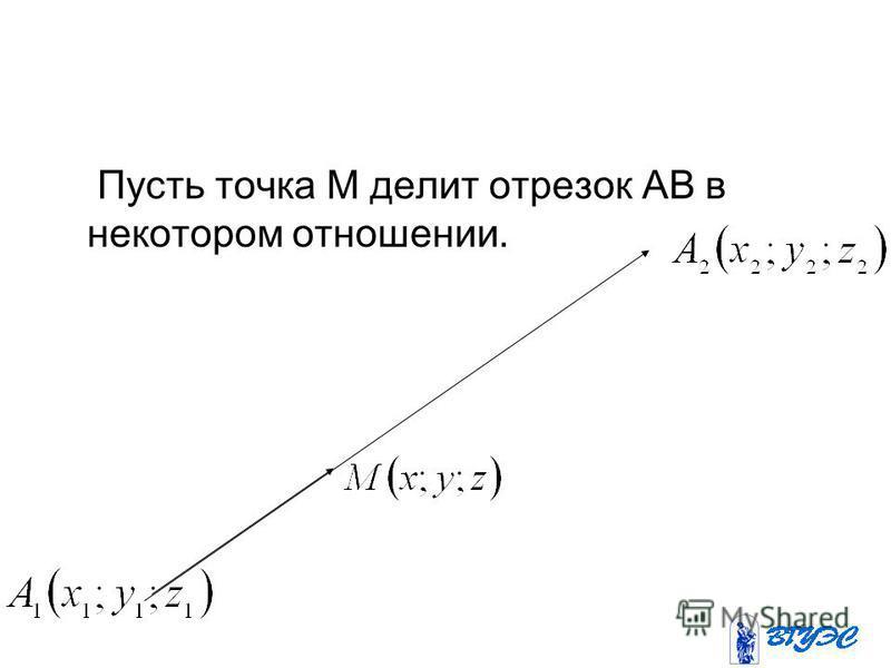 Пусть точка М делит отрезок АВ в некотором отношении.