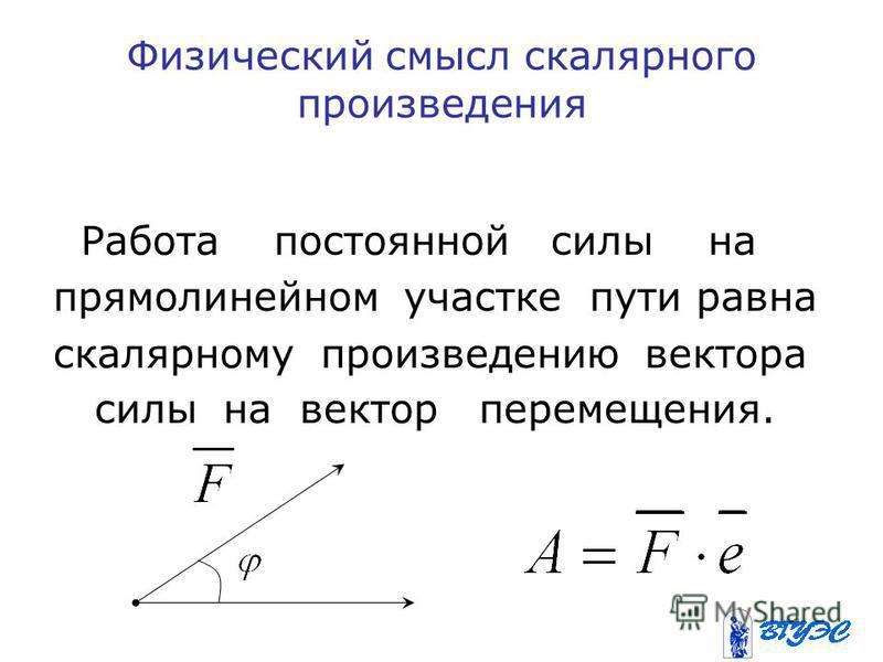 Физический смысл скалярного произведения Работа постоянной силы на прямолинейном участке пути равна скалярному произведению вектора силы на вектор перемещения.