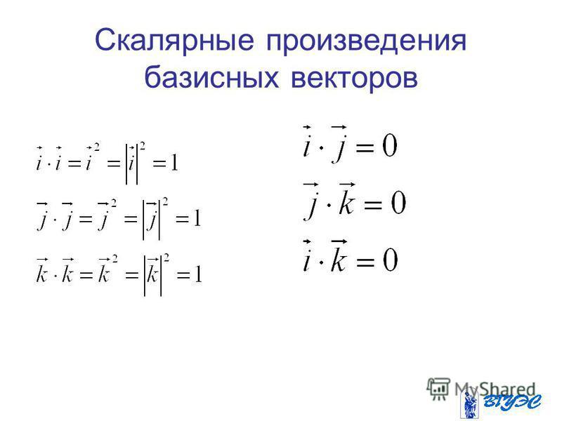 Скалярные произведения базисных векторов