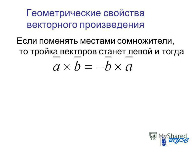 Геометрические свойства векторного произведения Если поменять местами сомножители, то тройка векторов станет левой и тогда