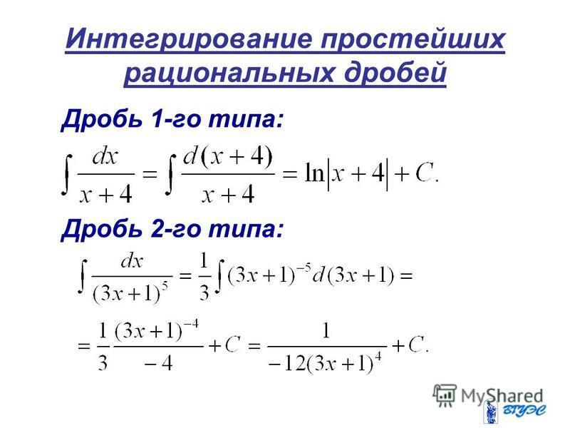 Интегрирование простейших рациональных дробей Дробь 1-го типа: Дробь 2-го типа: