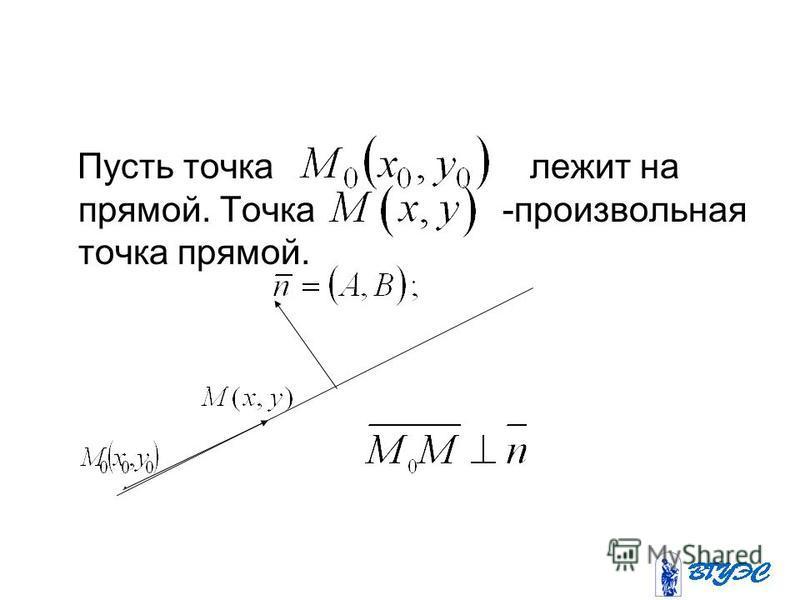 Пусть точка лежит на прямой. Точка -произвольная точка прямой..