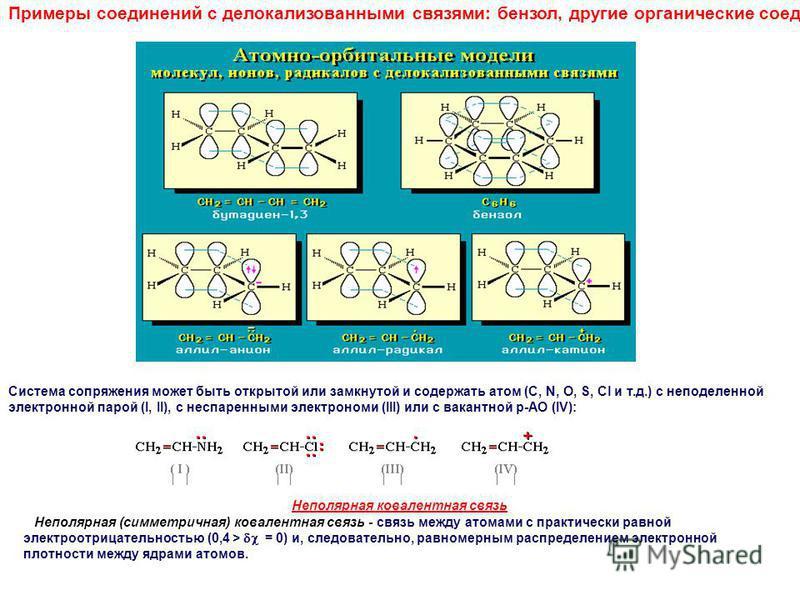 Примеры соединений с делокализованными связями: бензол, другие органические соединения: Система сопряжения может быть открытой или замкнутой и содержать атом (С, N, O, S, Cl и т.д.) с неподеленной электронной парой (I, II), с неспаренными электрономи