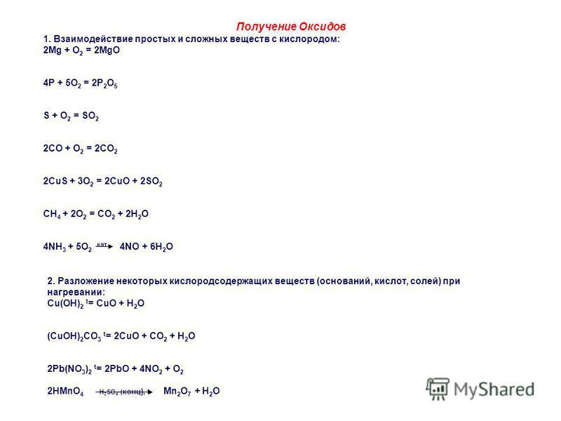 Получение Оксидов 1. Взаимодействие простых и сложных веществ с кислородом: 2Mg + O 2 = 2MgO 4P + 5O 2 = 2P 2 O 5 S + O 2 = SO 2 2CO + O 2 = 2CO 2 2CuS + 3O 2 = 2CuO + 2SO 2 CH 4 + 2O 2 = CO 2 + 2H 2 O 4NH 3 + 5O 2 кат 4NO + 6H 2 O 2. Разложение неко