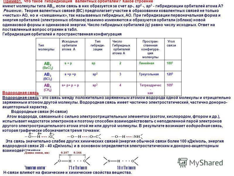 Пример 1. Что такое гибридизация валентных орбиталей? Какое строение имеют молекулы типа АВ n, если связь в них образуется за счет sp-, sp 2 -, sp 3 - гибридизации орбиталей атома А? Решение:. Теория валентных связей (ВС) предполагает участие в обра