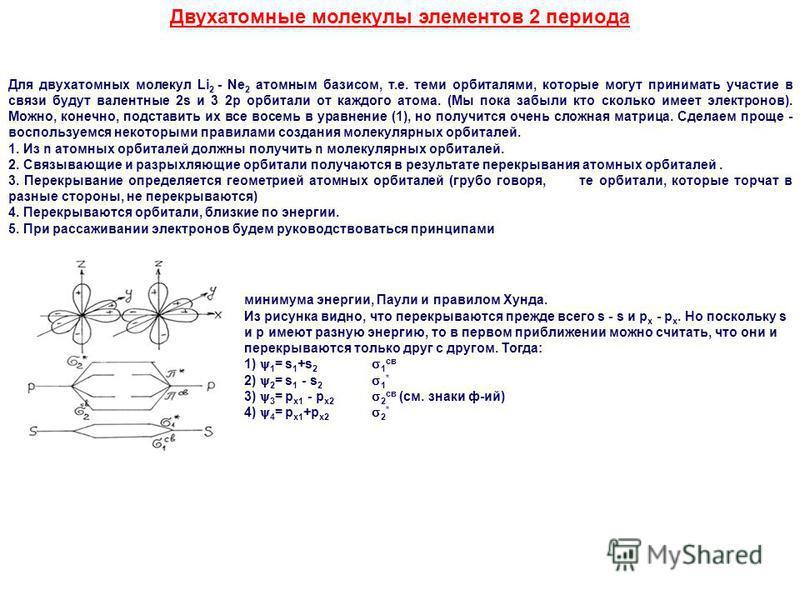 Двухатомные молекулы элементов 2 периода Для двухатомных молекул Li 2 - Ne 2 атомным базисом, т.е. теми орбиталями, которые могут принимать участие в связи будут валентные 2s и 3 2p орбитали от каждого атома. (Мы пока забыли кто сколько имеет электро