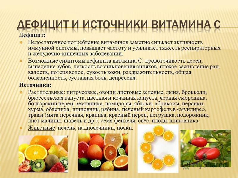 Дефицит: Недостаточное потребление витаминов заметно снижает активность иммунной системы, повышает частоту и усиливает тяжесть респираторных и желудочно-кишечных заболеваний. Возможные симптомы дефицита витамина С: кровоточивость десен, выпадение зуб