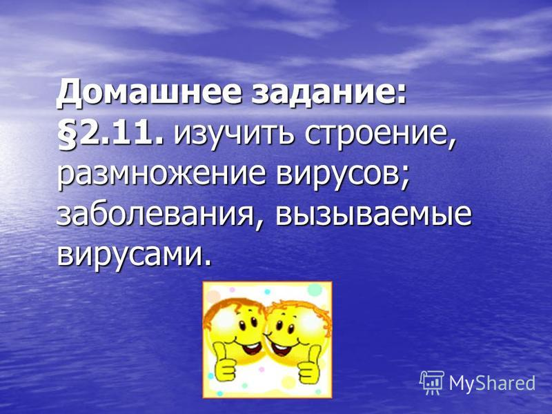 Домашнее задание: §2.11. изучить строение, размножение вирусов; заболевания, вызываемые вирусами.