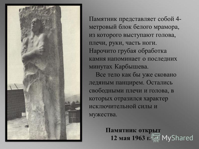 Памятник представляет собой 4- метровый блок белого мрамора, из которого выступают голова, плечи, руки, часть ноги. Нарочито грубая обработка камня напоминает о последних минутах Карбышева. Все тело как бы уже сковано ледяным панцирем. Остались свобо
