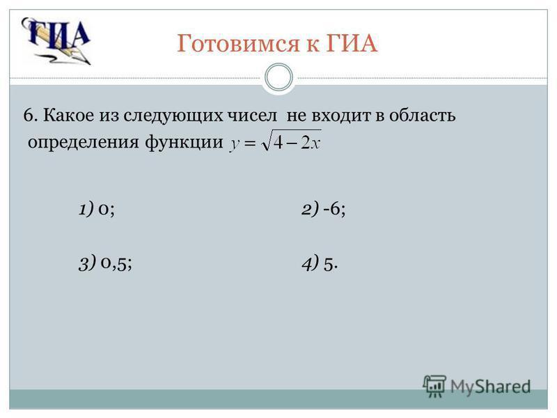 Готовимся к ГИА 6. Какое из следующих чисел не входит в область определения функции 1) 0;2) -6; 3) 0,5;4) 5.