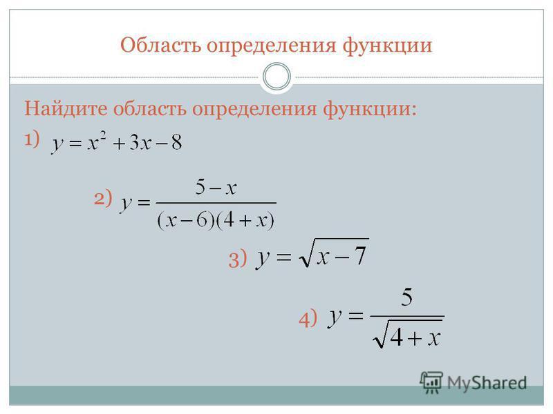 Область определения функции Найдите область определения функции: 1) 2) 3) 4)