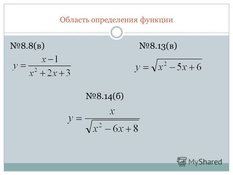 Область определения функции 8.8(в) 8.13(в) 8.14(б)