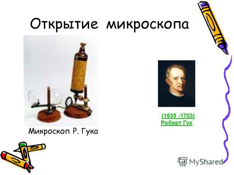 Открытие микроскопа Микроскоп Р. Гука (1635 -1703) Роберт Гук(1635 -1703) Роберт Гук