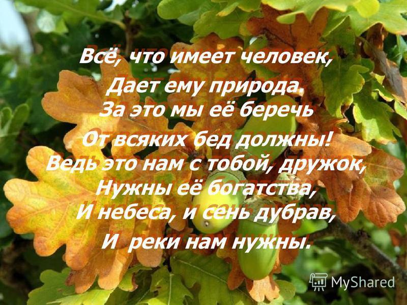 Всё, что имеет человек, Дает ему природа. За это мы её беречь От всяких бед должны! Ведь это нам с тобой, дружок, Нужны её богатства, И небеса, и сень дубрав, И реки нам нужны. Всё, что имеет человек, Дает ему природа. За это мы её беречь От всяких б