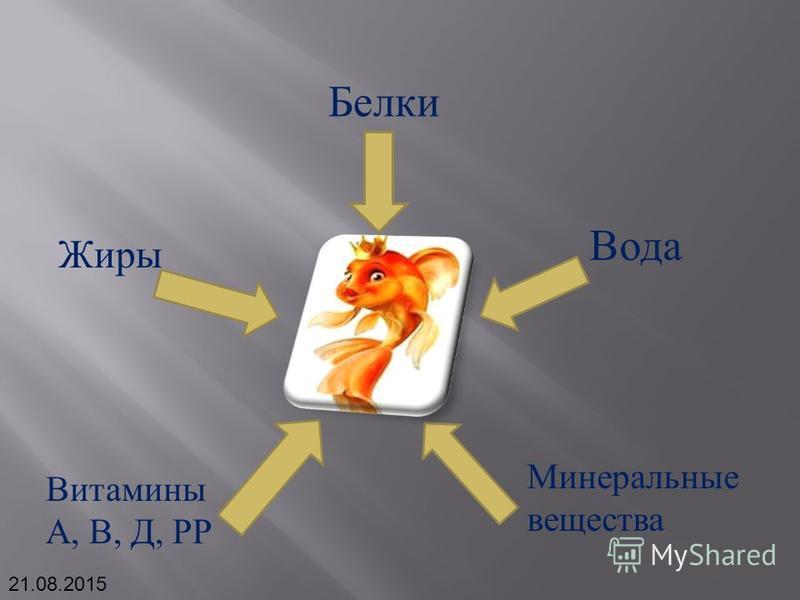 Белки Жиры Вода Минеральные вещества Витамины А, В, Д, РР 21.08.2015