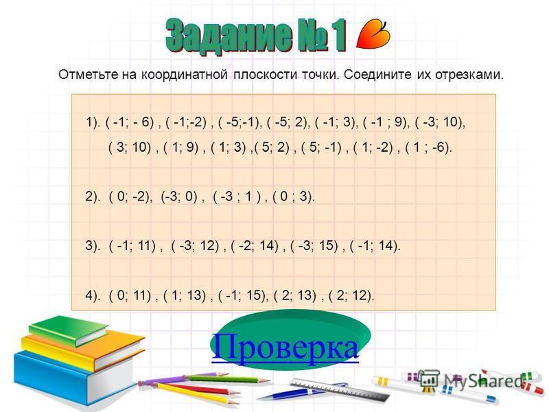 Проверка Отметьте на координатной плоскости точки. Соедините их отрезками. 1). ( -1; - 6), ( -1;-2), ( -5;-1), ( -5; 2), ( -1; 3), ( -1 ; 9), ( -3; 10), ( 3; 10), ( 1; 9), ( 1; 3),( 5; 2), ( 5; -1), ( 1; -2), ( 1 ; -6). 2). ( 0; -2), (-3; 0), ( -3 ;