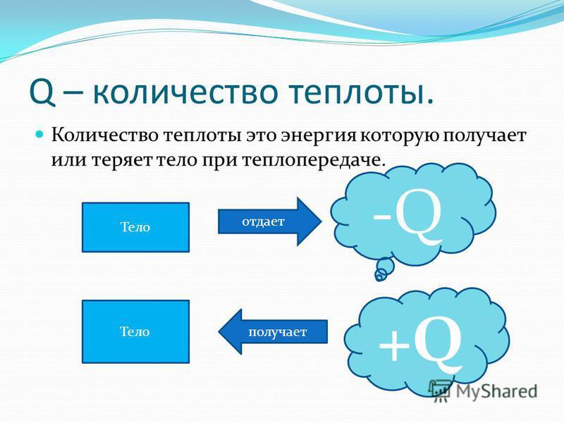 Q – количество теплоты. Количество теплоты это энергия которую получает или теряет тело при теплопередаче. Тело отдает -Q-Q Тело получает +Q+Q