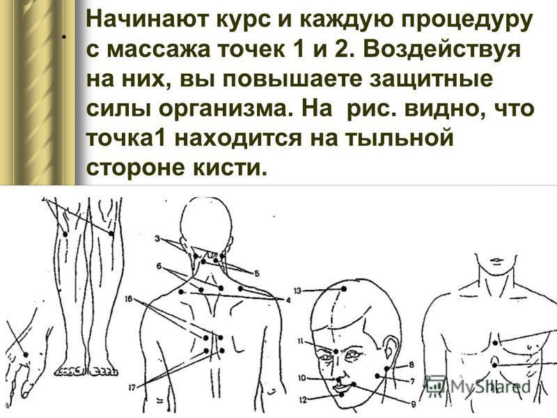 . Начинают курс и каждую процедуру с массажа точек 1 и 2. Воздействуя на них, вы повышаете защитные силы организма. На рис. видно, что точка 1 находится на тыльной стороне кисти.