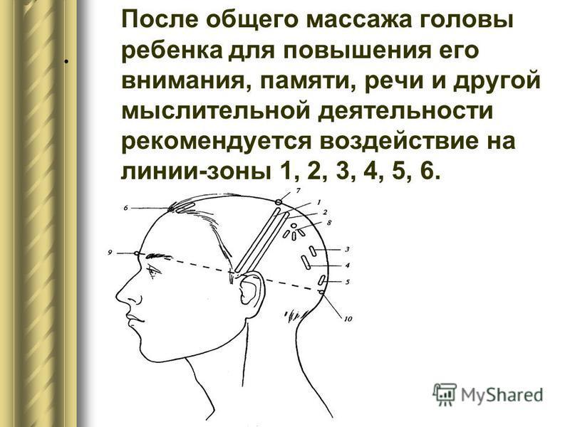 . После общего массажа головы ребенка для повышения его внимания, памяти, речи и другой мыслительной деятельности рекомендуется воздействие на линии-зоны 1, 2, 3, 4, 5, 6.