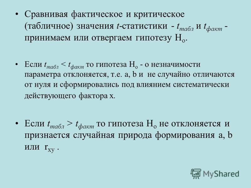 Сравнивая фактическое и критическое (табличное) значения t-статистики - t табл и t факт - принимаем или отвергаем гипотезу Н о. Если t табл < t факт то гипотеза H o - о незначимости параметра отклоняется, т.е. a, b и не случайно отличаются от нуля и