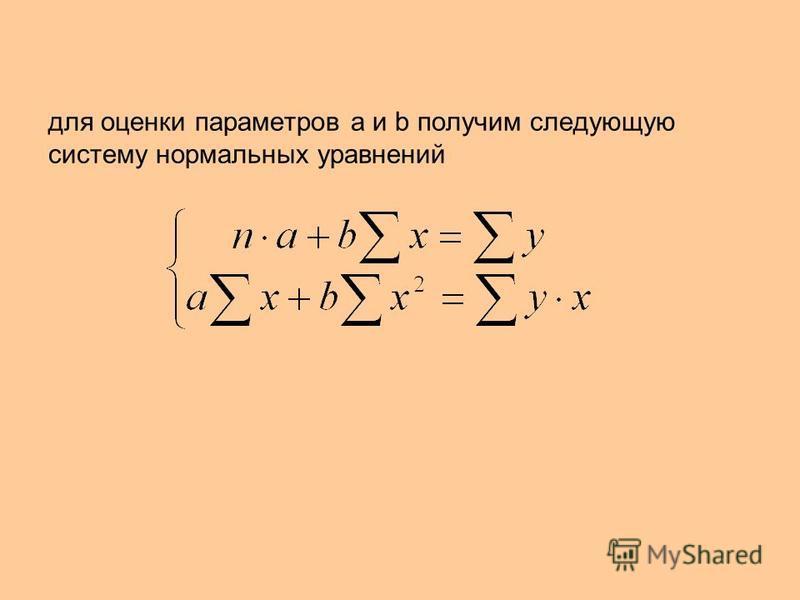 для оценки параметров а и b получим следующую систему нормальных уравнений