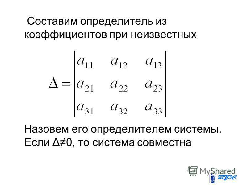 Составим определитель из коэффициентов при неизвестных Назовем его определителем системы. Если Δ0, то система совместна
