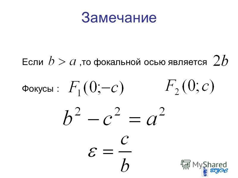 Замечание Если,то фокальной осью является Фокусы :