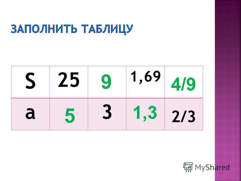 S 25 1,69 a3 2/3 5 9 1,3 4/9