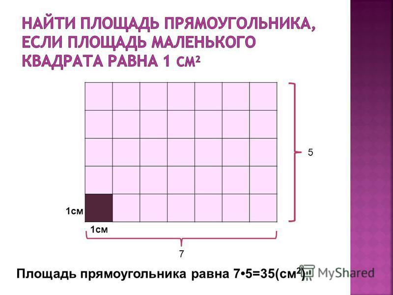 Площадь прямоугольника равна 75=35(см 2 ) 1 см 5 7