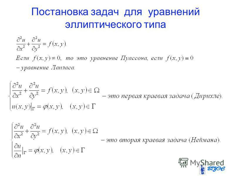 Постановка задач для уравнений эллиптического типа