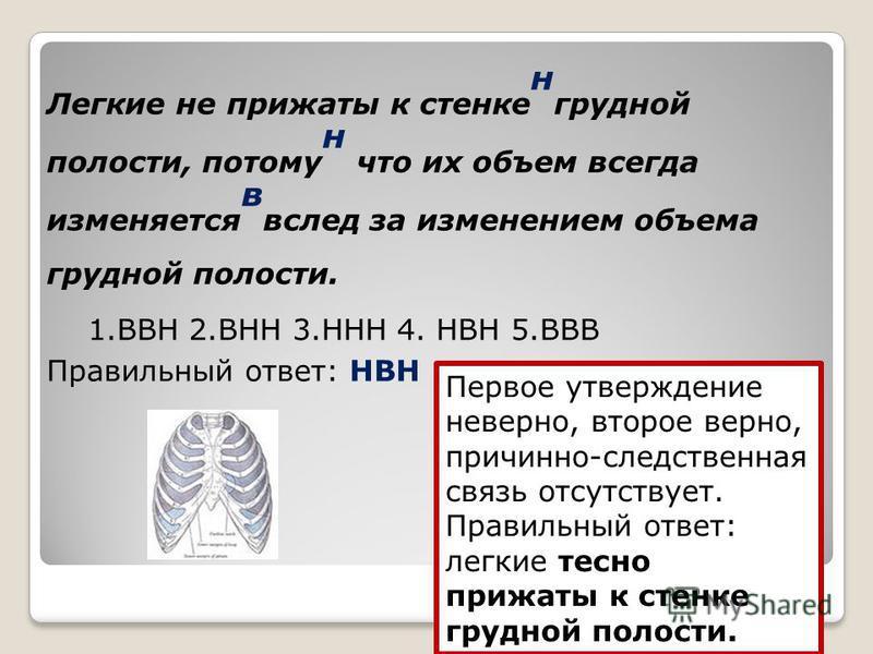 Легкие не прижаты к стенке н грудной полости, потому н что их объем всегда изменяется в вслед за изменением объема грудной полости. 1. ВВН 2. ВНН 3. ННН 4. НВН 5. ВВВ Правильный ответ: НВН Первое утверждение неверно, второе верно, причинно-следственн