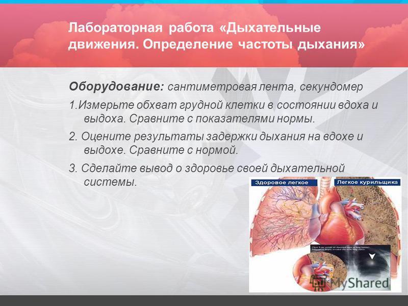 Лабораторная работа «Дыхательные движения. Определение частоты дыхания» Оборудование: сантиметровая лента, секундомер 1. Измерьте обхват грудной клетки в состоянии вдоха и выдоха. Сравните с показателями нормы. 2. Оцените результаты задержки дыхания