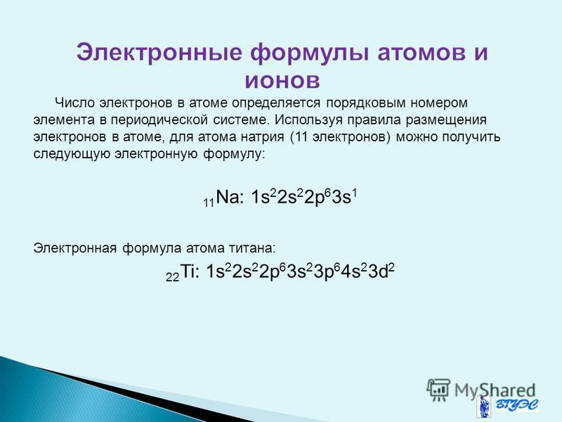 Число электронов в атоме определяется порядковым номером элемента в периодической системе. Используя правила размещения электронов в атоме, для атома натрия (11 электронов) можно получить следующую электронную формулу: 11 Na: 1s 2 2s 2 2p 6 3s 1 Элек