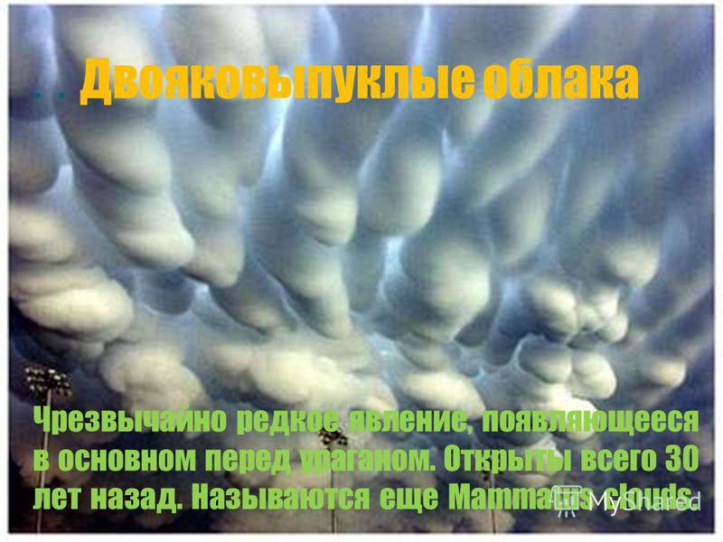 .. Двояковыпуклые облака Чрезвычайно редкое явление, появляющееся в основном перед ураганом. Открыты всего 30 лет назад. Называются еще Mammatus clouds.