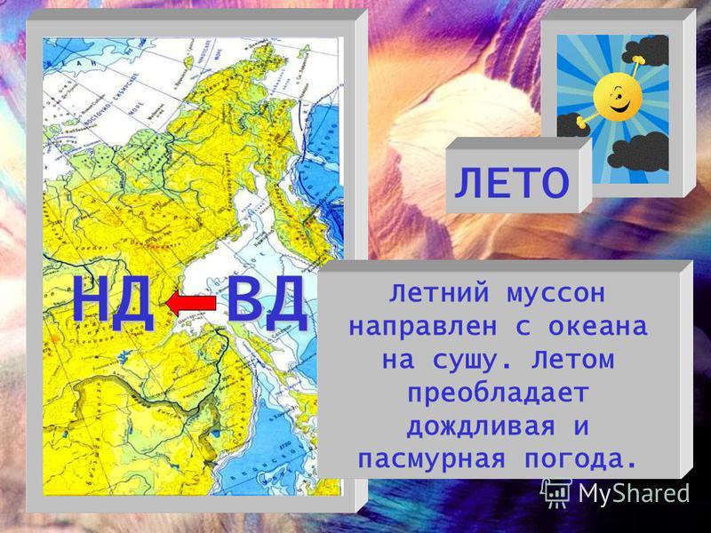 ЛЕТО ВД Летний муссон направлен с океана на сушу. Летом преобладает дождливая и пасмурная погода. НД